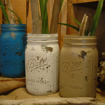 Blue Lagoon QUART size painted mason jar collection