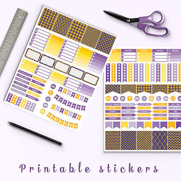 50% OFF Printable Planner Stickers Lavender Gold Glitter Stickers Erin Condren Half Box Stickers Flags Weekend Banners Planner Accessories