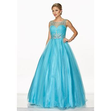 Juliet 647 Turquoise Quinceanera Dress Embellished Bodice Cut Out Back