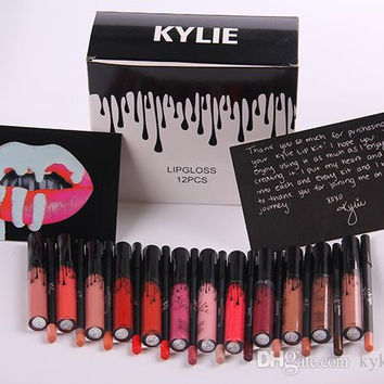 Latest KYLIE JENNER LIP KIT liner Kylie Lipliner pencil Velvetine Liquid Matte Lipstick in Red Velvet Makeup Lip Gloss Make Up free shipping