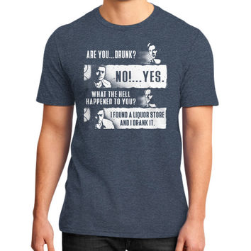 ARE YOU DRUNK NO YES District T-Shirt (on man)