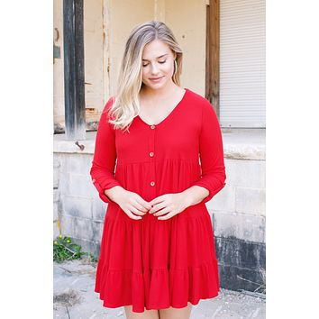 Asa Tiered Button Up Rib Knit Dress, Red