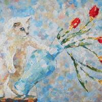 """Original Funny cat Oil Painting """"Oops!"""" White Kitten and Flower Bouquet in vase Red Tulips Pet portrait Still Life Nursery Child room decor"""
