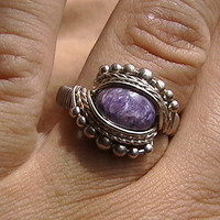 ANY SIZE CUSTOM Charoite Sterling Silver Wire Wrapped Ring