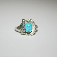 Feather Stearling Silver Ring With Turquoise Vintage Ring Band Size 6.25- free ship US