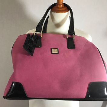 DVF Diane Von Furstenberg Large Pink Microfiber Shoulder  Tote Bag Carry-On
