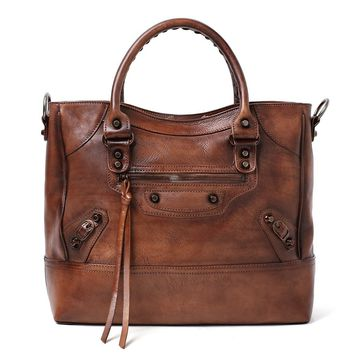Handmade Full Grain Leather Handbag - Luggage Tote