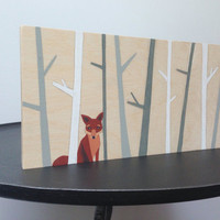 Woodland nursery art, hand painted, gray nursery, woodland fox, Modern nursery art, baby boy nursery, baby girl nursery, fox painting