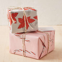 Knot & Bow Candy Cane And Poinsettia Gift Wrap Set - Urban Outfitters