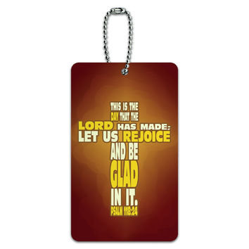 Bible Verse Cross Psalm - Religion Christianity Jesus Catholic This is day that the Lord has made ID Card Luggage Tag