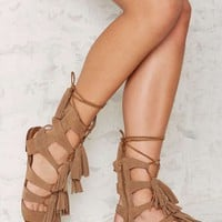 Jeffrey Campbell Hang of Four Suede Sandal - Beige