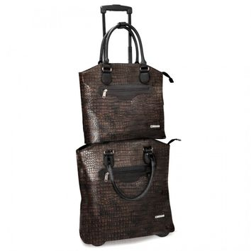 "Cabrelli Women's 15.6"" Rolling Laptop Bag - Metallic Croco Rollerbrief and Tablet Tote Set - Laptop Bags"