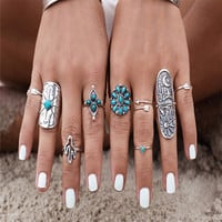 9pcs/set New Bohemian Turquoise Rings