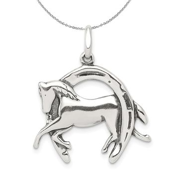 Sterling Silver Antiqued 3D Horse and Horseshoe Necklace