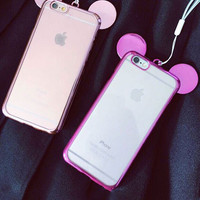 Mitch Ear Plating Border With a Lanyard Silicone Case for iPhone6 6s 6Plus 6sPlus