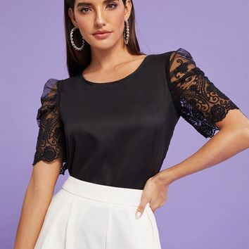 Contrast Lace Puff Sleeve Blouse