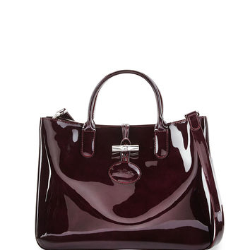 Roseau Medium Patent Tote Bag with Strap, Black Currant - Longchamp