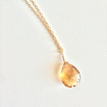 Clarity & Focus ~ Beautiful Handmade Gold Filled Wire Wrapped Whiskey Quartz Necklace ~ Gold Filled Chain - 14k Gold available upon Request
