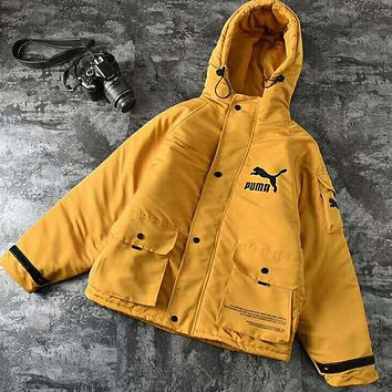 PUMA Winter Trending Couple Stylish Long Sleeve Hoodie Cardigan Jacket Cotton Coat Yellow