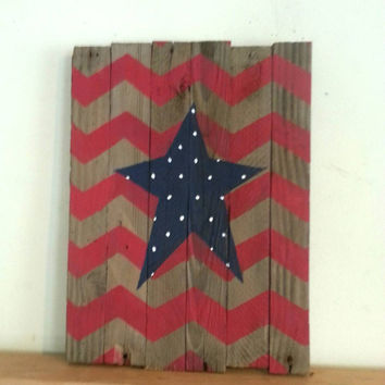 Barn wood sign American flag inspired Red chevron Blue Star, Red White Blue, memorial day, 4th of July wood sign, primitive USA decor pallet