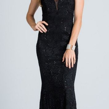 Black Sleeveless Fit and Flare Evening Gown with Illusion Inset