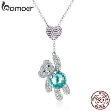 BAMOER 100% 925 Sterling Silver Pink CZ Heart And Cute Bear Animal Pendant Necklaces for Women Silver Jewelry Gift SCN271