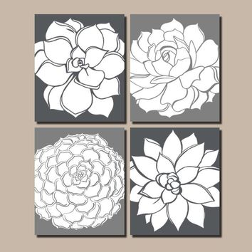 Flower Wall Art, Gray Bathroom Decor, BATHROOM WALL Art, Succulent CANVAS or Print, Gray Floral Bedroom Wall Decor, Set of 4 Gray Wall Decor