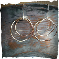 Wavy Brass Hoop and Sterling Earrings