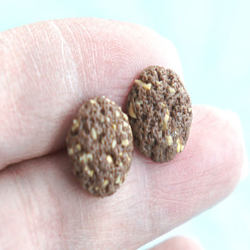 chocolate walnut cookies stud earrings