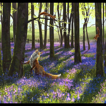 Red Fox and Squirrels in Springtime Bluebell Forest Fine Art Print