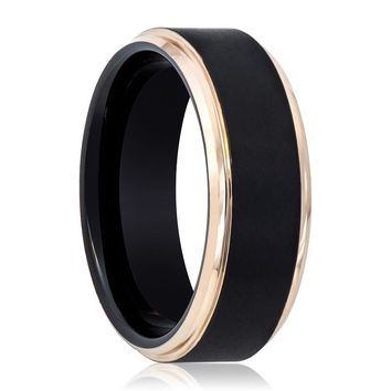 Black and Rose Gold Stepped Edge Tungsten Men's Wedding Band