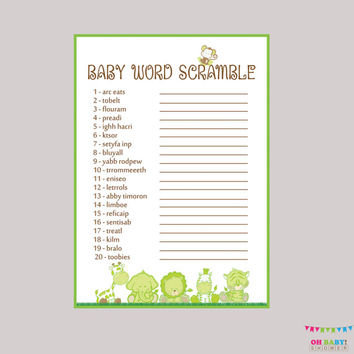 Baby Word Scramble Game - Gender Neutral Safari Baby Shower Printable Instant Download - Safari Word Scramble Baby Shower Green - BS0001-G