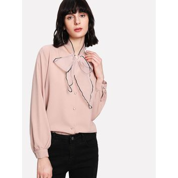 Mesh Panel Tie Neck Blouse