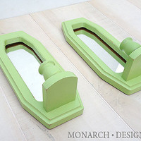 Green Mirrored Candle Sconces, Vintage Distressed Wall Candle Sticks
