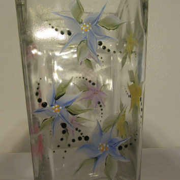 Tall Rectangle Hand Painted Floral Vase - Red, Blue, Yellow and Purple Flowers