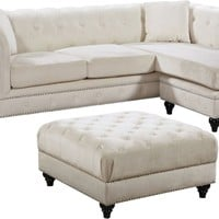 Sabrina Deep Tufted Cream Velvet Reversible Sectional Sofa