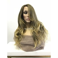 Blonde balayage skin top multi parting | Lace Front Wig 18"