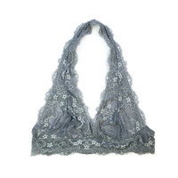A Lace Halter Bralette in Charcoal