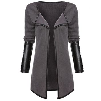 Knitted Cardigan Full Sleeve Faux Leather Patchwork Open Stitch Casual Jackets