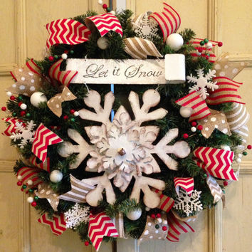 Designer Let it Snow Christmas Wreath, Decorative Christmas Wreath, Christmas Door Wreath, Red Christmas Wreath, Christmas Decoration