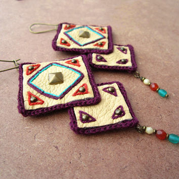 Ethnic tribal Native inspired geometric leather dangle earrings,ivory,aubergine