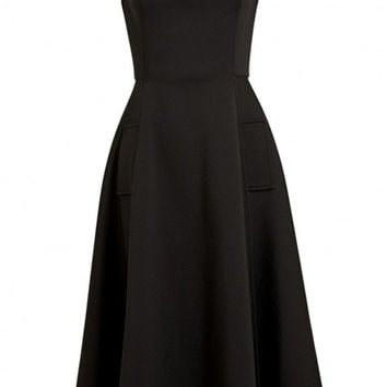Black Sleeveless Scoop Neckline Flare Midi Dress