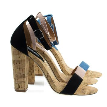 Fay6 Black By X2B, Chunky Block Heel Sandal On Faux Cork Texture. Women's Party Shoes
