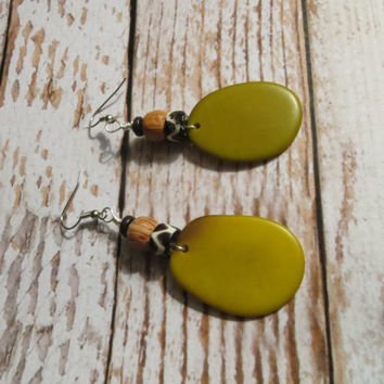 Olive Green Tugua Earrings with African Beads and Wood / Dangle Earrings/ Momma Rocks / Eco friendly / green-living/ Caroline Glidden