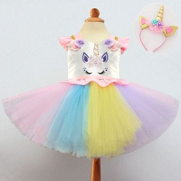 Infant Baby Girl First Halloween Costume Rainbow Unicorn Dresses For Princess Girls Christmas Gift Toddler Prom Gown Unicornio
