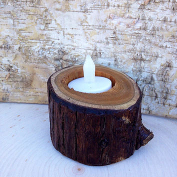 Natural rustic wooden candle holders, tea light holder, rustic centerpieces, home decor, rustic wedding decor, tealight, wood, log, branch