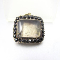 Georgian Stuart Crystal Pendant Brooch. Memento Mori Black Jet Crystals 12K Rose Gold Memorial Pendant Brooch.