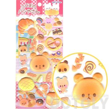 Bear Shaped Bread Croissant Pretzel Animal Puffy Stickers for Scrapbooking