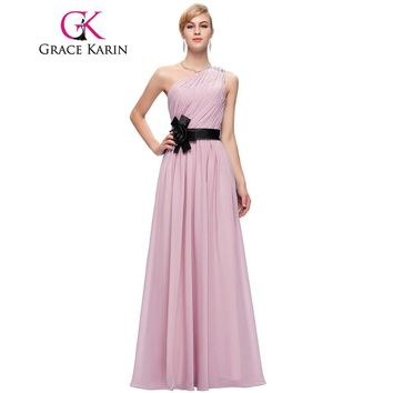 Grace Karin Prom Dress One Shoulder Elegant Floor Length Party Gowns Purple Blue Pink Chiffon Formal Long Prom Dresses 2017