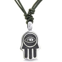 Amulet Evil Eye Reflection Hamsa Hand Lucky Charm Pendant Necklace Leather Cord Pendant Necklace